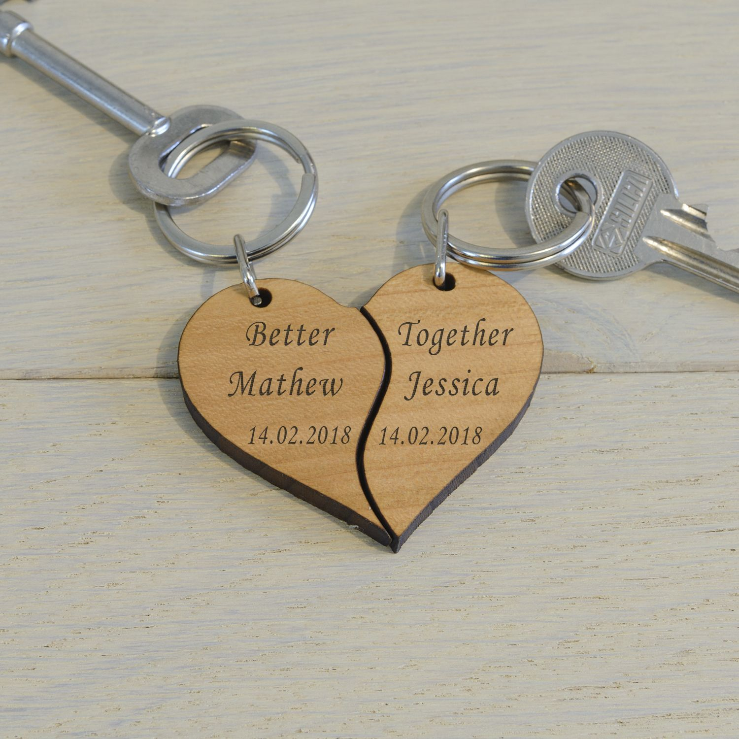 Personalised Better Together Split Heart Wooden Keyrings