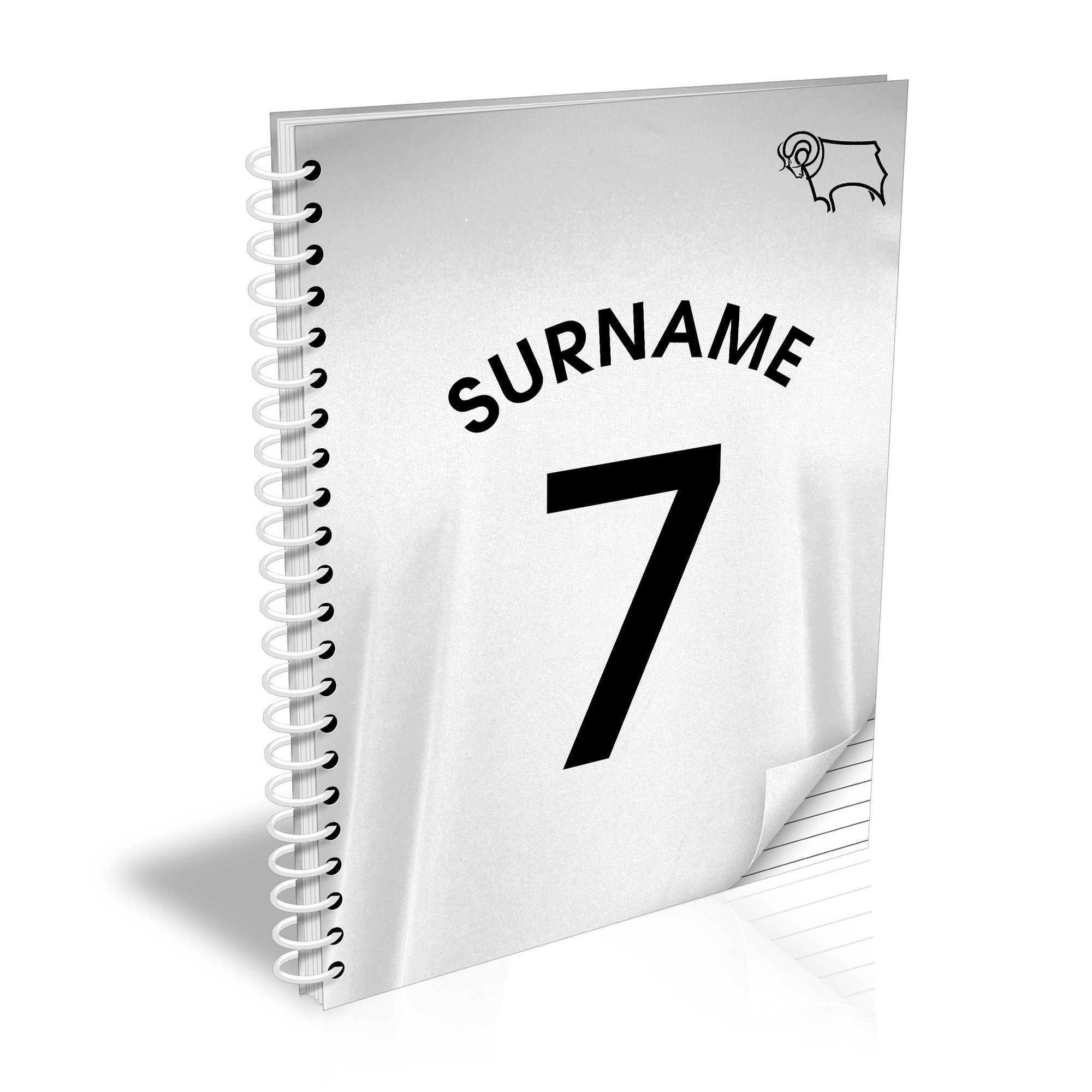 Personalised Derby County Shirt Notebook
